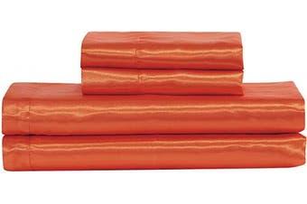 (King, Orange) - Home Collection Satin Sheet Set Solid Colour Super Soft Touch Bridal Cosy Adorable Deep Pocket New (Orange, King)