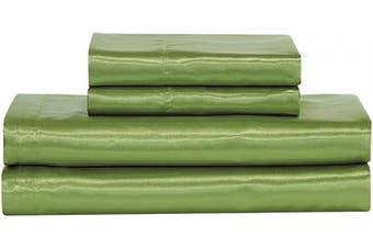 (King, Sage Green) - Home Collection Satin Sheet Set Solid Colour Super Soft Touch Bridal Cosy Adorable Deep Pocket New (Sage Green, King)