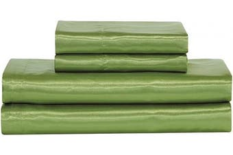 (California King, Sage Green) - Home Collection Satin Sheet Set Solid Colour Super Soft Touch Bridal Cosy Adorable Deep Pocket New (Sage Green, California King)
