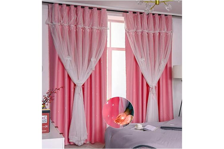 W52 X L63 1 Pc Pink Star Cutout Yancorp Blackout Curtains For Bedroom Living Room Darkening