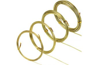 (Gold) - BBTO Aluminium Craft Wire, 4 Sizes (1 mm, 1.5 mm, 2 mm and 2.5 mm in Thickness) Bendable Metal Wire for DIY Sculpture and Crafts, 4 Rolls, Each Roll 5m (Gold)