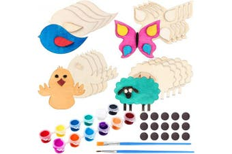 20 Pieces Wooden Magnet Craft Painting, Assorted Wooden Animals, 12 Colours Paints, Paint Brushes and Magnets for Adult Arts and Crafts Supplies