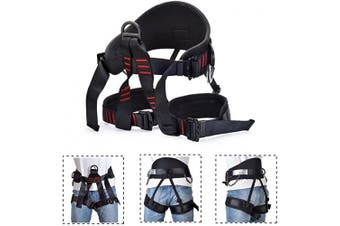 (Thicken Black) - Weanas Thicken Climbing Harness, Protect Waist Safety Harness, Wider Half Body Harness for Mountaineering Fire Rescuing Rock Climbing Rappelling Tree Climbing