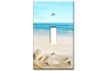 Art Plates 1-Gang Toggle OVERSIZED Switch Plate/OVER SIZE Wall Plate - Seashells on the Beach