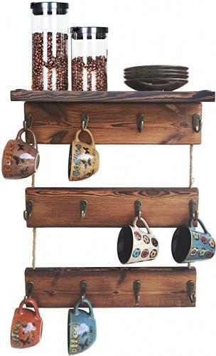 Kolymax 12 Hooks Coffee Cup Holder Solid Wood Mug Rack With Shelf Coffee Bar Mug Display Rustic Kitchen Storage Rack For Farmhouse Decor 3 Tie Matt Blatt