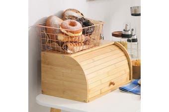 (Big Size Self-assembly) - Betwoo Natural Wooden Roll Top Bread Box Kitchen Bamboo Storage Bin (Big Size Self assembly)