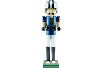 (06 - Football Player) - Clever Creations Football Player Nutcracker - Wearing a Blue Football Jersey - Traditional Festive Christmas Decor - 38cm Perfect for Shelves and Tables - Solid Wood Construction