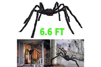 AISENO Halloween Decorations Scary Giant Spider Virtual Realistic Hairy Spider Outdoor Indoor Party Supplies Decor Black 2m