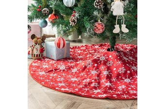 Amidaky Christmas Tree Skirt Small 120cm Double Layers Red and White Snowflake Carpet for Holiday Party Decorations Xmas Ornaments