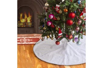 BUZIO Christmas Tree Skirt - 120cm Luxury Snowy White Tree Skirt Christmas Decorations Holiday, Beautiful and Durable