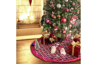 BUZIO Christmas Tree Skirt - 120cm Luxury Tartan Red Plaid Tree Skirt Christmas Decorations Holiday, Beautiful and Durable