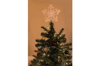 Clever Creations White Star Christmas Tree Topper - Festive Christmas Decor - Sparkling Shatter Resistant Plastic - 20cm Tall - Perfect for Large Christmas Trees