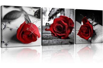 (12X12inchX3pcs, A-Rose) - NAN Wind Canvas Print 3 Pcs Black and White Red Rose Canvas Art Painting Abstract Wall Art Decorations Flower Picture on Canvas for Home Decor Valentines Gift Stretched and Framed 30cm X 30cm