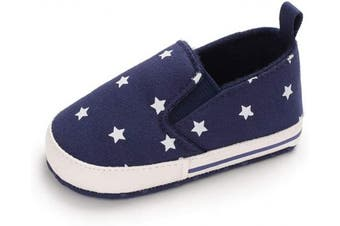 (12-18 Months, Navy) - Baby Boy Shoes Infant Star Toddler Walking Anti-Slip Soft Sole Flat Trainer Navy 12-18 Months