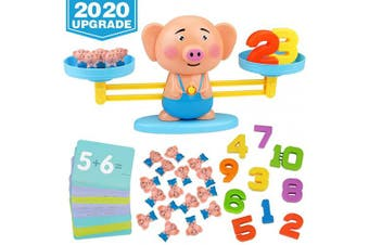 Aitbay Balance Cool Math Game for Toddlers Ages 3-5, Piggy Educational Counting Toys STEM Preschool Number Learning Games for 3 4 5 Year Old Boys and Girls (63 Piece)