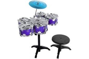 M SANMERSEN Kids Drum Set 9 Pieces Kids Drum Kit Jess Drum Set for Kids Little Rockstar Drummer Drum Set for Children Boys Girls (Blue)