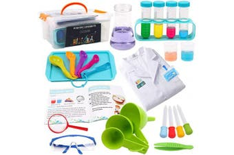 ABirdon Kids Science Experiment Kit with Lab Coat, 28 Pcs STEM Educational Toys Gift with Storage Box, Scientist Role Play Toy for Boys Girls Age 5-11