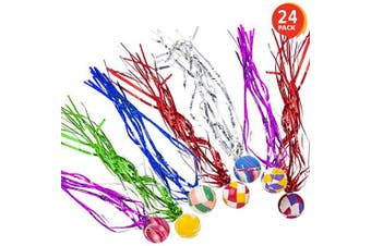 ArtCreativity Comet Balls, Bulk Set of 24, Bouncy Super Balls with Colourful Streamers, Birthday Party Favours for Kids, Goodie Bag Fillers, Fun Assorted Colours