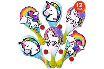 ArtCreativity Unicorn Paddle Balls, Pack of 12, Cute 23cm Wooden Paddleball with String, Assorted Designs, Great Party Favours, Goodie Bag Fillers, Fun Activity Toys for Kids
