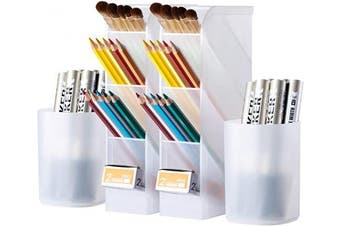 4 Pcs Desk Organiser, Wellerly Pen/Pencil Markers Holder Storage Box Desk Organiser Multi-Functional for Office School Home Supply - Translucent White 2 Pack Holders & 2 Pack Cups