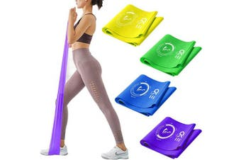 (4 Color Different strength) - CKE Resistance Bands Set Exercise Bands Professional Latex Resistance Bands for Physical Therapy Pilates Yoga Rehab Strength Training Resistance Straps for Exercise Workout Bands for Home