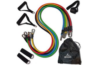 Micogo 11 PCS Resistance Band Set 5 Exercise Bands (10,15,20,1150kg) Fitness Accessories with Door Anchor, Ankle Straps Carrying Case for Resistance Training (Ordinary Buckle)