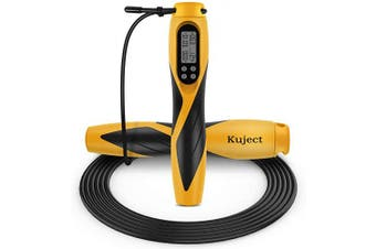 (Yellow) - Kuject Skipping Rope, Digital Weighted Handle Adjustable Jumping Rope with Smart Counter, Time Setting for Kids, Fitness, Crossfit, Gym, Burn Calorie