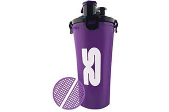 (Purple) - Protein Shaker Purple Bottle | 800ml/28oz Dual Chamber Cup | Purple | Enjoy Two Drinks Stored Separately in The Same Cup | Includes Mixing Grid | Ideal Workout Accessory