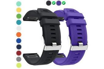 (P04 Black&Purple) - CharmingElf Compatible with Garmin Fenix 5 Band 22mm Wacth Band for Fenix 5/Fenix 5 Plus/Fenix 6/Fenix 6 Pro/Forerunner 935/Forerunner 945/Quatix 5/Approach S60