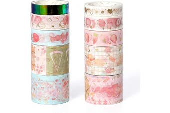 (WT-352C) - Molshine Set of 10 Washi Masking Tape Set,Bronzing Sticky Paper,Crafts Tape with 12sheets Stickers(60pieces) for DIY,Bullet Diary Decorative,Gift Wrapping,Scrapbook,Office,Supplies,Collection-Fantasy