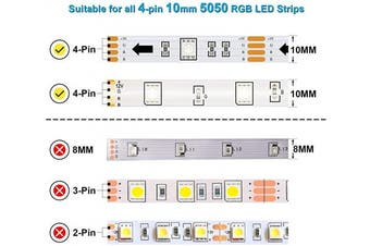 RGB LED Strip Connector Full Kit, 4 Pin 10mm Gapless Solderless Adapter Extension for SMD 5050 LED Light Strip, 5X Right Angle connectors, 3X L Connectors, 2X T Connectors