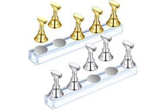 2 Sets Acrylic Nail Display Stand Magnetic Nail Tip Practise Holder Nail Art Polish Stand for False Nail Tip Manicure Tool Home DIY and Salon Use