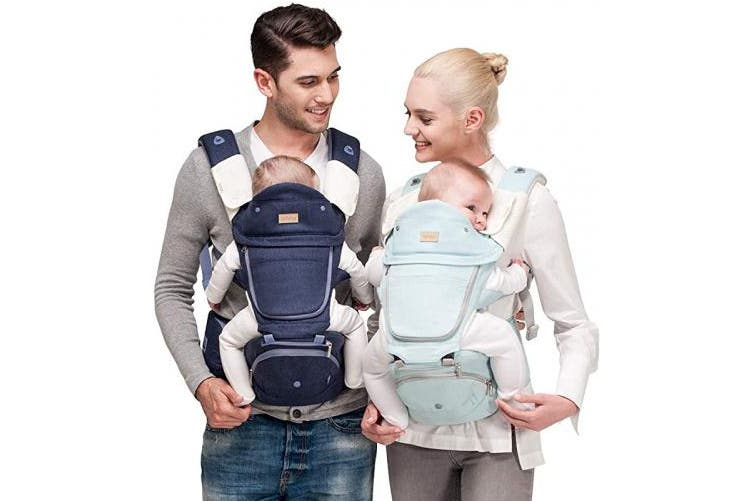 (Baby Carrier, Sky Blue) - Bebamour Baby Carrier Newborn to Toddler, 6 in 1 Baby Carrier for 0-36 Months, 100% Cotton, Foldable Baby Hipseat Attached 3pcs Baby Drool Bibs (Baby Carrier, Sky Blue)