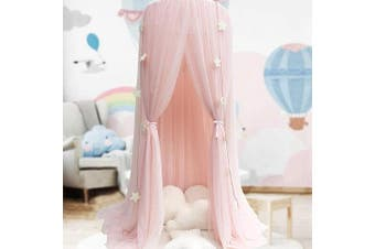 (Pink) - Bed Canopy for Girls - Princess Bed Canopy Mosquito Net Nursery Play Room Decor Dome Premium Yarn Netting Curtains Baby Game Dream Castle, Pink