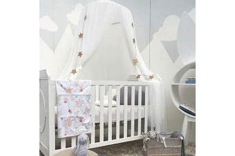 (White) - Bed Canopy for Girls - Princess Bed Canopy Mosquito Net Nursery Play Room Decor Dome Premium Yarn Netting Curtains Baby Game Dream Castle, White