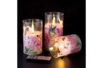 (Pink Flower) - Eywamage Pink Flower Glass Flameless Candles with Remote, Flickering Battery Operated Pillar Candles Set of 3, Unscented Fake LED Candles, D 7.6cm H 10cm 13cm 15cm