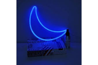 (Blue Moon) - Qunlight Blue Moon Neon Signs, Battery/USB Operated LED Neon Light for Party Supplies, Girls Room Decoration Accessory, Table Decoration, Children Kids Gifts(Blue Moon)
