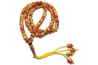 (Orange) - Muslim Tasbih 99 Rosay Beads AMN-184 Islam Prayer dhikr Misbaha with Allah Muhammad Names Engraved on Islamic Religion Eid Ramadan Gift (Orange)