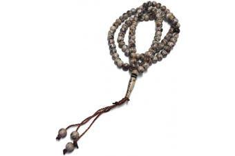 (Brown Gray) - Muslim Tasbih 99 Rosay Beads AMN-184 Islam Prayer dhikr Misbaha with Allah Muhammad Names Engraved on Islamic Religion Eid Ramadan Gift (Brown Grey)