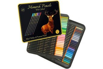 Black Widow Monarch Coloured Pencils For Adults - 48 Colouring Pencils With Smooth Pigments - Best Colour Pencil Set For Adult Colouring Books And Drawing.