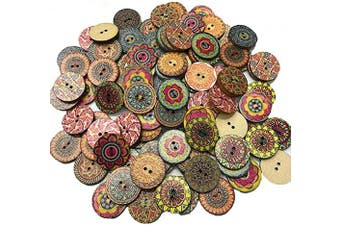 (25MM / 1in, Vintage Wooden Flower) - Wood Buttons,100PCS Vintage Wooden Buttons with 2 Holes for DIY Sewing Craft Decorative 25mm / 1in