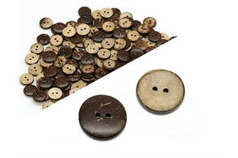 AKOAK 100 Pieces Natural Coconut Shell Two-Holes Buttons Sewing Accessories Decorative Buttons (20mm)