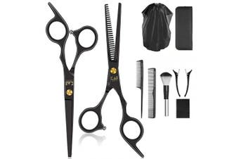 Acocho 10 Pcs Hair Cutting Scissors Set, Professional Haircut Scissors Kit with Cutting Scissors,Thinning Scissors, Comb,Cape, Clips, Black Hairdressing Shears Set for Barber, Salon, Home