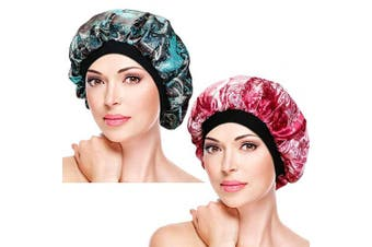 (Set-3) - 2 Pieces Soft Sleep Caps – Night Satin Bonnet with Wide Premium Elastic Band, Salon Bonnet Hair Loss Sleeping Cap for Women