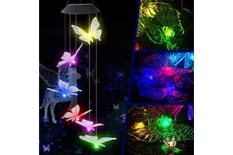 (Clear Wing Butterfly) - Butterfly Solar Light, Epicgadget Solar Butterfly Wind Chime Colour Changing Outdoor Solar Garden Decorative Lights for Walkway Pathway Backyard Christmas Decoration Parties (Clear Wing Butterfly)