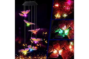 (Purple Wing Tip Butterfly) - Butterfly Solar Light, Epicgadget Solar Butterfly Wind Chime Colour Changing Outdoor Solar Garden Decorative Lights for Walkway Pathway Backyard Christmas Decoration Parties (Purple Wing Tip Butterfly)