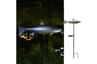 (Silver-2) - Solar Garden Lights Metal Fish Decorative Stake for Outdoor Patio Yard Decorations,Warm White LED Solar Path Lights (Silver-2)