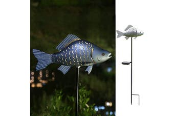(Silver-1) - Solar Garden Lights Metal Fish Decorative Stake for Outdoor Patio Yard Decorations,Warm White LED Solar Path Lights (Silver-1)