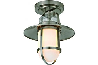 Addington Park 31762 Miles Collection 1-Light Nautical Outdoor Flush Mount with Frosted Glass, Brushed Nickel