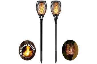 (2) - Solar Torch Light with Flickering Flame,Fire Effect Lantern,Dancing Flame,Solar Garden Light, Dust to Dawn,Outdoor Waterproof Garden Decoration, Solar Powered Stick Light ZKEE(Set of 2)